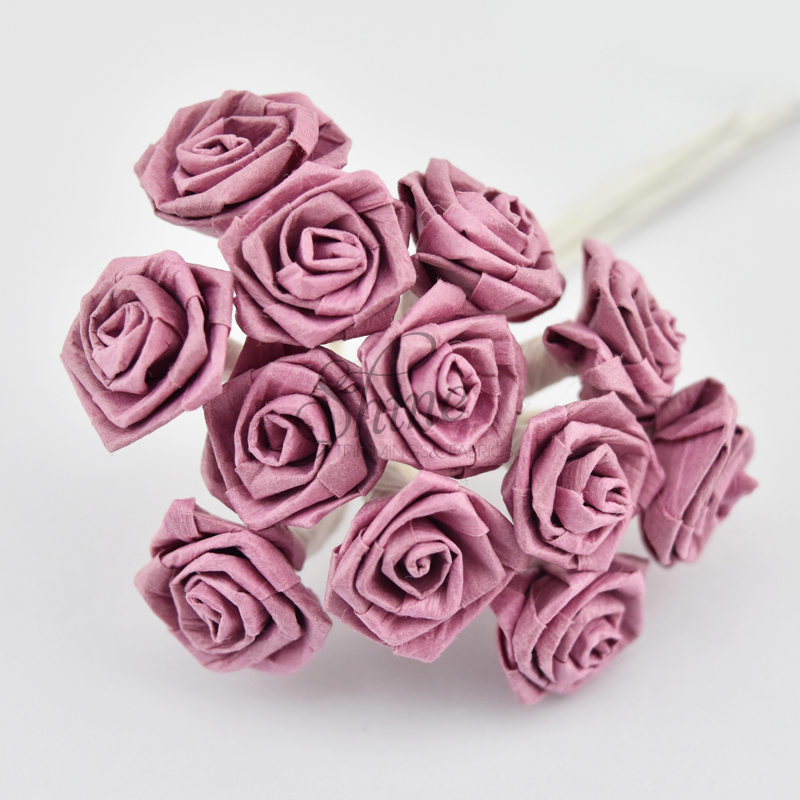 Bunch Of Small Paper Ribbon Roses Dusty Pink Shine Trimmings Fabrics