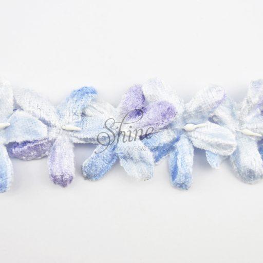 Velvet Flower Trimming Pale Blue/Mauve