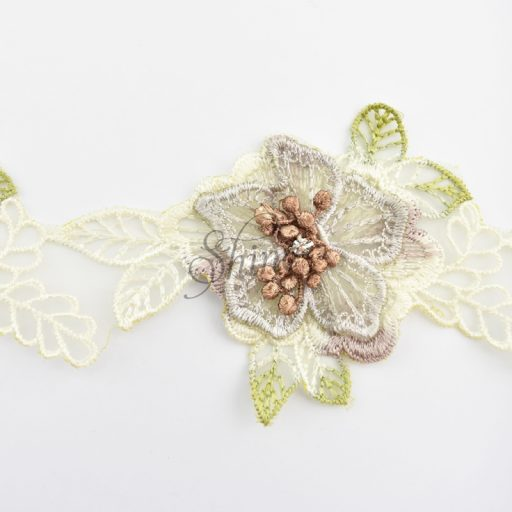 Floral Organza and Diamante 3D Lace Cream/Plum