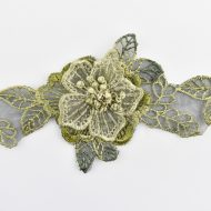 Floral Organza and Diamante 3D Lace Olive
