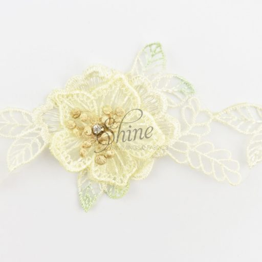 Floral Organza and Diamante 3D Lace Cream/Mint
