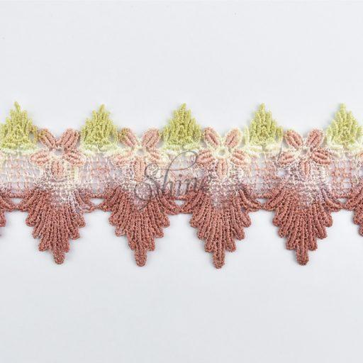 Ombre Floral Scallop Lace Sage/Antique Burgundy
