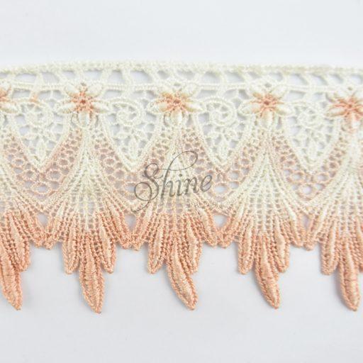 Ombre Victorian Scallop Lace Cream/Peach