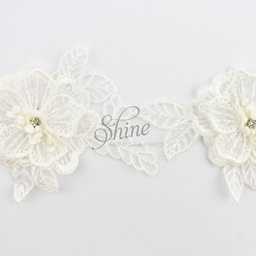 Floral Organza and Diamante 3D Lace White