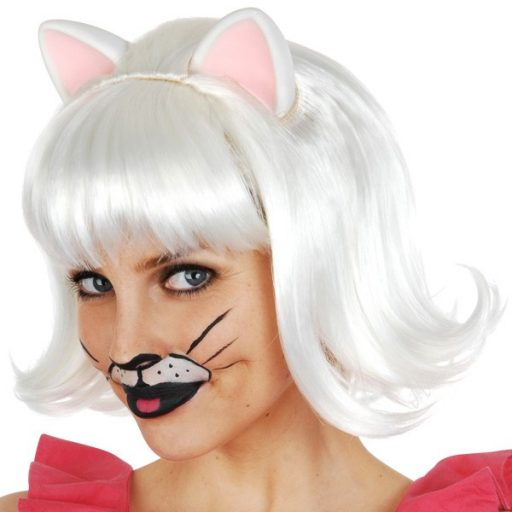 Snowdrop Cat White Deluxe Wig with Ears