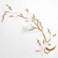 Cherry Blossom Iron On Motif White