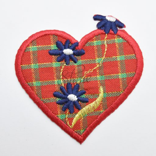 Tartan Heart Iron On Motif with Flowers