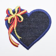 Denim Heart Iron On Motif with Bow