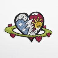 Cosmic Heart Iron On Embroidered Motif