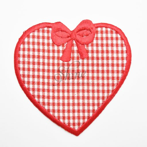 Large Red and White Checked Heart Iron On Motif