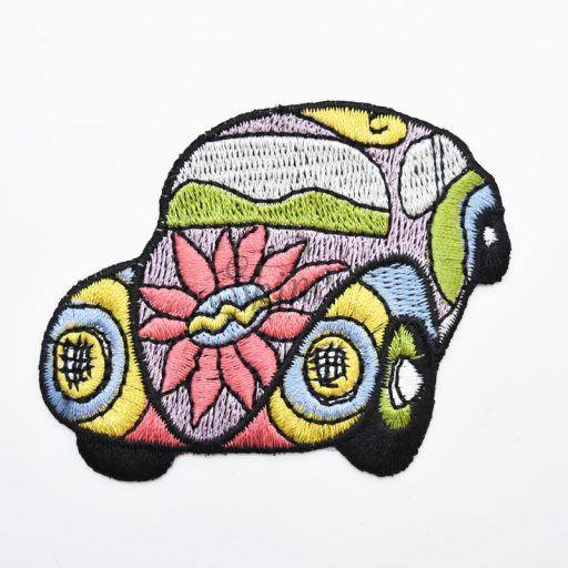 Psychedelic Car Iron On Embroidered Motif