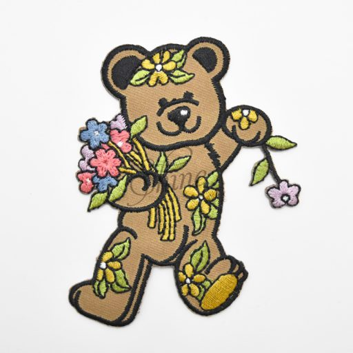 Teddy Bear w/Flowers Iron On Embroidered Motif
