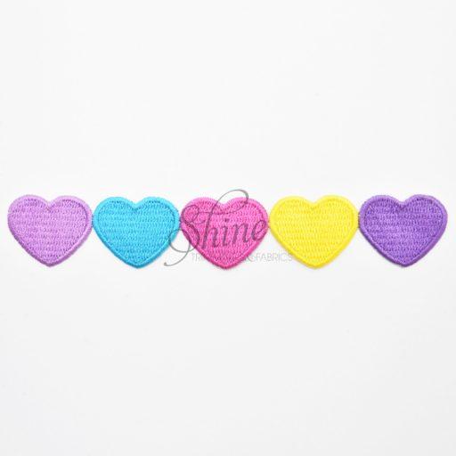 Row of Hearts Iron On Motif Yellow/Multi