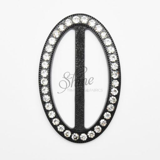 Oval Diamante Buckle Black