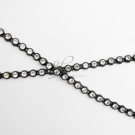 Single Row Large Diamante Banding Black/Crystal
