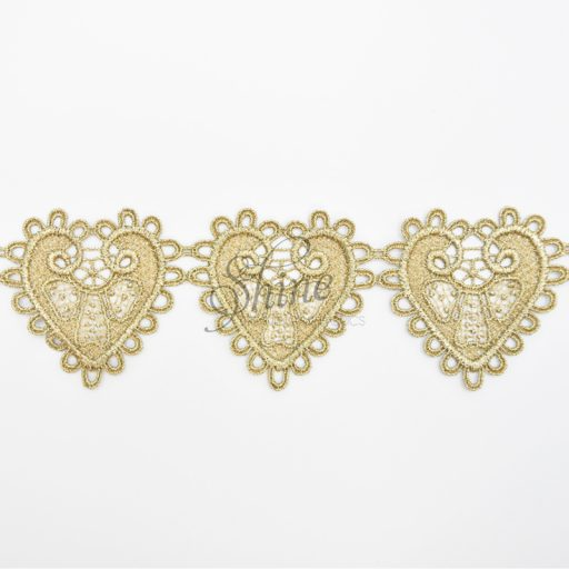 Hearts Metallic Antique Gold Embroidered Lace Trimming