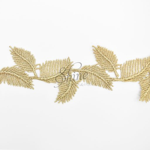 Leaf Metallic Antique Gold Embroidered Lace Trimming