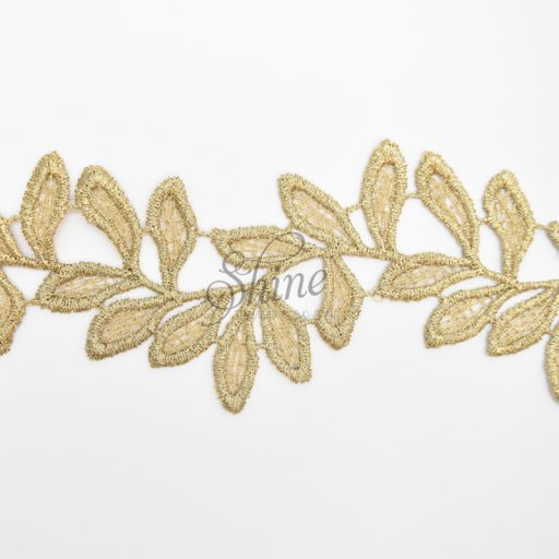 Vines Metallic Antique Gold Embroidered Lace Trimming