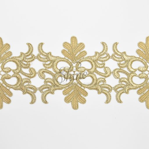 Metallic Antique Gold Embroidered Lace Trimming