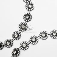 Flower Diamante Trim Black