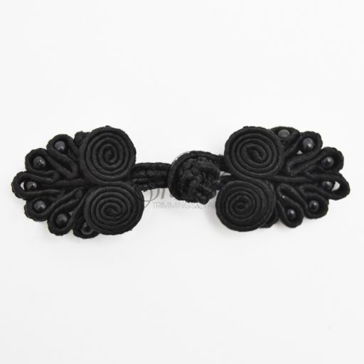 Small Beaded Frog Closure Black