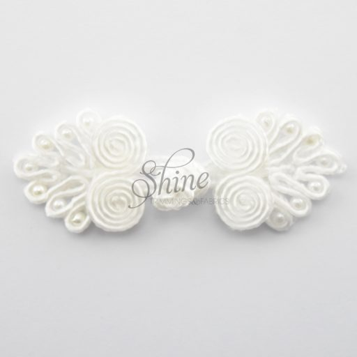 Small Beaded Frog Closure White