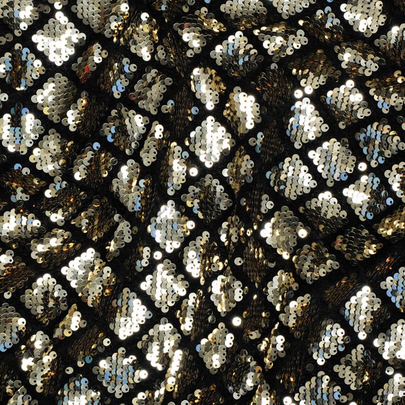 Harlequin design black velvet gold sequin fabric shine for Sequin fabric