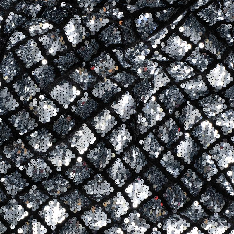 Harlequin Design Black Velvet Silver Sequin Fabric