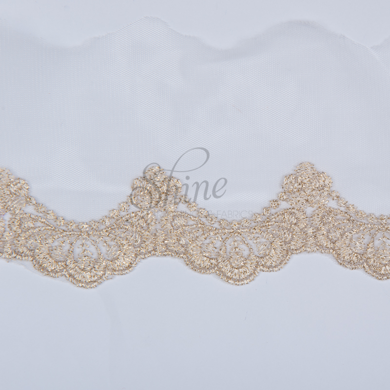Embroidered Lace Trim with Metallic Gold Scallop Edge Design – Ivory ...