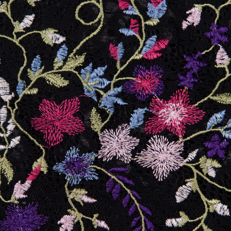 Black Lace with Multi Coloured Embroidered Flowers